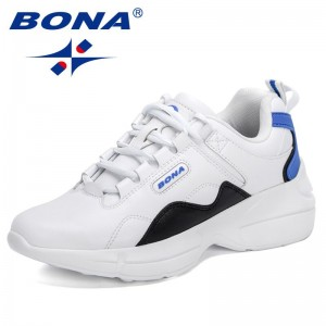 BONA 2021 New Designers Platform Casual Sneakers Women High Quality Casual Shoes Ladies Luxury Brand Lace Up Trendy Footwear