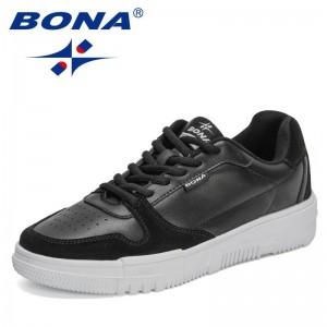 BONA 2021 New Designers Luxury Brand Sneakers Fashion Men Flat Casual Vulcanized Shoes Man Lace-UP Leisure Footwear Mansculino