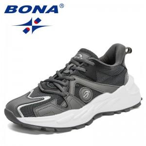BONA 2021 New Designers Action Leather Mesh Jogging Running Shoes Men Athletic Footwear Mansculino Zapatillas Deportivas Hombre