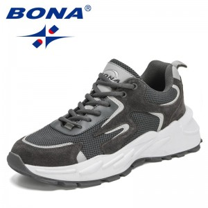 BONA 2021 New Designers Action Leather Mesh Sports Shoes Men Adult Running Sneakers Man Light Weight Shoes Basket Zapatos Hombre