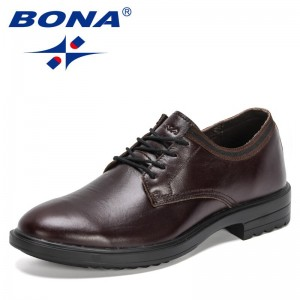 BONA 2021 New Designers Genuine Leather Dress Shoes Men Fashion Casual Shoes Man Formal Business Wedding Office FootwearShoes