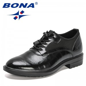 BONA 2021 New Designers Genuine Leather Shoes Men Lace-Up Business Dress Shoes Male Formal Office Shoe Mansculino Zapatos Hombre