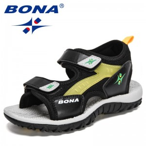 BONA 2021 New Designers Summer Sandals Kids Boys Casuals Shoes Childrens Soft Sole Anti-Slip Luxury Fashion Girls Sports Sandals