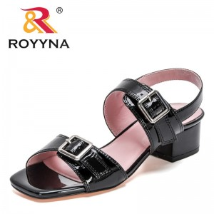 ROYYNA 2021 New Designers Patent Leathe Sandals Women Fashion Rome Style Buckle Strap Shoes Summer Ladies Casual Chunky Sandals