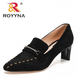 ROYYNA 2021 New Designers Fashion Med Belt Buckle Pointed Toe Genuine Leathe Shoes Women Thick Heels Work Pumps Feminimo Shoes