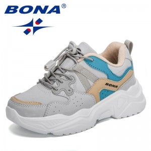 BONA 2021 New Designers Chunky Sneakers Lightweight Children Casual Running Shoes Tenis Jogging Footwear Child Walking Shoes