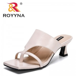 ROYYNA 2021 New Designers Classics Slippers Ladies High Heel Sandals Summer Women Shoes Beach Flops Solid Slides Feminimo Comfy