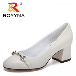ROYYNA 2021 New Designers High Heels Metal Decration Pumps Women Office Sheepskin Work Shoes Ladies Soft Bottom Pumps Feminimo