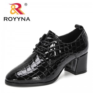 ROYYNA 2021 New Designers Lace Up Chunky Heels Shoes for Women Autumn Pumps High Heels Black Office Shoes Ladies Wedding Shoes