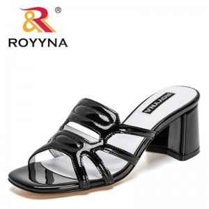ROYYNA 2021 New Designers Brand Slippers Fashion High Quality Patent Leather Ladies Flip Flops Luxury Slides Women Summer Sandal