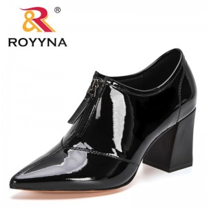 ROYYNA 2021 New Designers Vintage Genuine Leather Lace Up Chunky Heel Pumps Women Pointed Toe Party Shoes Ladies Office Shoes