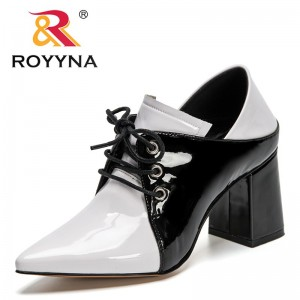 ROYYNA 2021 New Designers Patent Leather High Heels Sexy Cross-Tied Pointed Toe Lace Up Pumps Women Dress Thick Heels Footwear