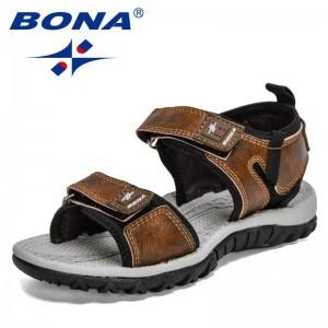 BONA 2021 New Designers Popular Kids Sandals Summer Non-slip Children's Beach Shoes Luxury Brand Flats Boys Casuales Sandalias