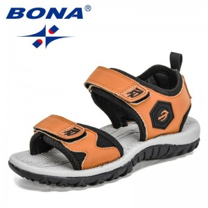 BONA 2021 New Designers Sport Sandals Children Summer Shoes Non-slip Soft Bottom Beach Sandals for Kids Comfortable Shoes Child