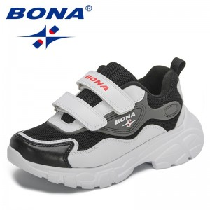 BONA 2021 New Designers Brand Mesh Sneakers Children Sports Shoes Jogging Footwear Child Running Shoes Walking Shoes Chaussure