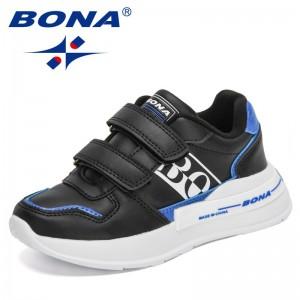 BONA 2021 New Designers Fashion Sneakers Children Sports Running Shoes Kids Mesh Tennis Shoes Soft Lightweight Walking Shoes Boy