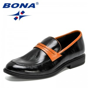 BONA 2021 New Designers Comfortable Low-top British Casual Single Shoes Men Office Dress Formal Shoes Man Work Shoes Mansculino