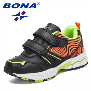BONA 2021 New Designers Trendy Jogging Shoes Boys Girls Sports Shoes Students Running Shoes Kids Casual Sneakers Walking Shoes
