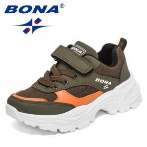 BONA 2021 New Designers Running Sneakers Children Breathable Mesh Sport Shoes Child Lightweight Casual Walking Shoes Boys Girls