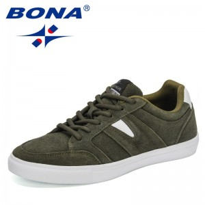 BONA 2021 New Deisgners Skateboard Shoes Man Lace Up Suede Leather Casual Shoes For Men Flat Loafer Popular Sneakers Mansculino
