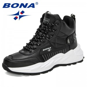 BONA 2021 New Designers Trendy Classic Men Ankle Boots Wear Resisting High Top Shoes Man Comfortable Walking Sneakers Mansculino