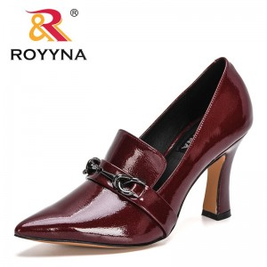 ROYYNA 2021 New Designers Dress Shoes Patent Leather High Heels Pointed Toe Pumps Women Metal Boat Shoes Wedding Shoes Feminimo