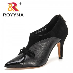 ROYYNA 2021 New Designers Genuine Leather Buckle Strap Zipper Pumps Women Pointed Toe High Heels Chaussure Mujer Office Shoes