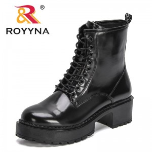 ROYYNA 2021 New Designers Chunky Motorcycle Boots for Women Autumn Winter Fashion Round Toe Lace-up Comfort Boots Ladies Trendy