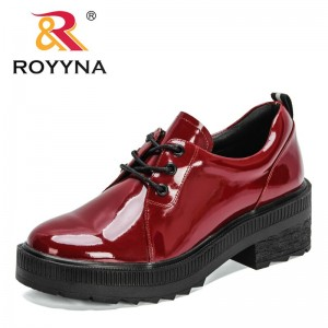 ROYYNA 2021 New Designers Chunky Heels Sneakers Shoes Ladies Vintage loafers Women Japanese Student Shoes Girls Lace Up Pumps