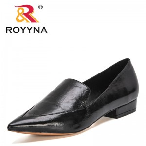 ROYYNA 2021 New Designers Genuine Leather Classics Pumps Women Hot Sale Party Wedding Shoes Woman Pointed Toe Retro Pumps Ladies