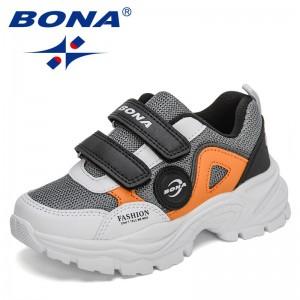 BONA 2021 New Designers Luxury Sneakers Kids Casual Shoes Children Running Tenis Shoes Breathable Hook&Loop Walking Footwear