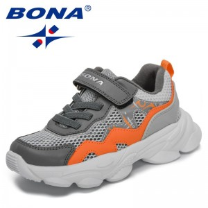 BONA 2021 New Designers Lightweight Casual Shoes Children Breathable Mesh Shoes Kids Non-slip Walking Shoes Sneakers Zapatillas