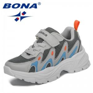 BONA 2021 New Designers Casual Classics Fashion Sneakers Kids Jogging Walking Trainers Children School Boys Girls Sport Shoes