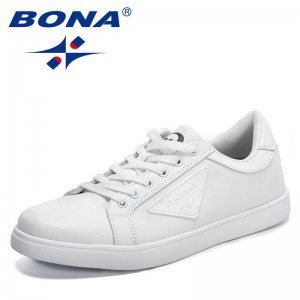 BONA 2021 New Designers Classics Casual Sneakers Men Skateboarding White Black Shoes Man Walking Footwear Zapatillas De Hombre