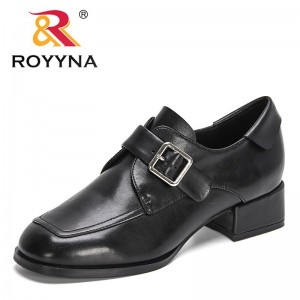 ROYYNA 2021 New Designers Genuine Leather Women Loafers Round Toe Chunky Heel Vintage Shoes Woman Buckle High Heel Dress Shoes