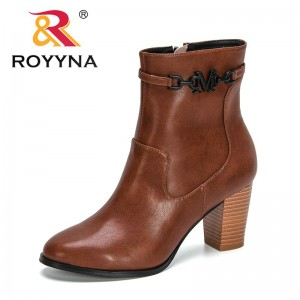 ROYYNA 2021 New Designers Classics Ankle Boots Women Autumn High Quality Leather Boots Ladies Anti-slip Winter Shoes Feminimo