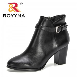 ROYYNA 2021 New Designers Ankle Boots Women Round Toe High Heel Zippers Fashion Shoes For Woman Winter Shoes Ladies Botas Mujer