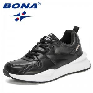 BONA 2021 New Designers Action Leather Sport Shoes Men Outdoor Walking Leisure Sneakers Mansculino Lightweight Zapatillas Hombre