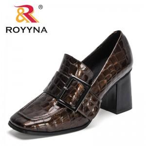ROYYNA 2021 New Designers Buckle Patent Leather Pumps Ladies Square Toe Medium Heels Office Dress Shoes Women Wedding Footwear