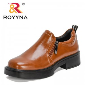 ROYYNA 2021 New Designers Classics Round Toe Office Work Shoes Women Chunky Heels Zipper Pumps Ladies Office Dress Soft Shoes