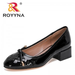 ROYYNA 2021 New Designers Patent Low Heels Fashion Footwear Female Slip On Round Toe Pumps Woman Fashion Office Dress Shoes Lady