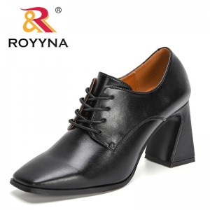 ROYYNA 2021 New Designers Women Lace up High Heel Pumps British Style Thick Heel Shoes Ladies Office Dress Shoes Feminimo Comfy