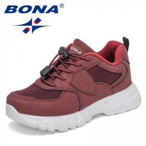 BONA 2021 New Designers Casual Shoes For Boys Girls Trendy Sneaker Kids Non-slip Sport Shoes Jogging Walking Footwear Children