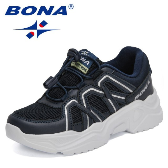 BONA 2021 New Designers Sports Shoes Running Shoes Children Leisure Breathable Outdoor Kids Shoes Lightweight Sneakers Child