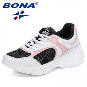 BONA 2021 New Designers Fashion Mesh Sneakers Shoes For Females Casual Flats Shoes LadiesVulcanized Shoes Feminimo Leisure Shoes