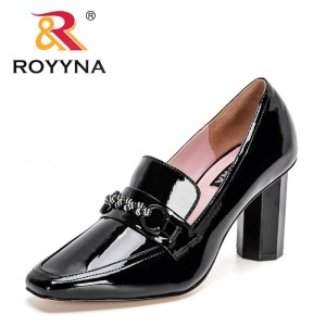 ROYYNA 2021 New Designers Patent Leather Pumps Women High Heels Shoes Ladies Crystal Wedding Working Party Shoes Feminimo Comfy