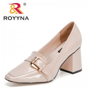 ROYYNA 2021 New Designers Patent Leather Buckle High Heel Square Toe Pumps Women Dress Party Office Shoes Ladies Working Shoes