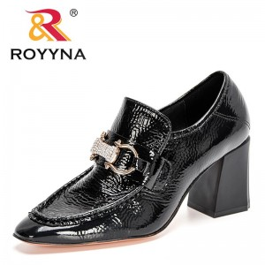 ROYYNA 2021 New Designers Patent Leather High Thick Heels Women Fashion Black Party Office Pumps Crystal Wedding Shoes Ladies