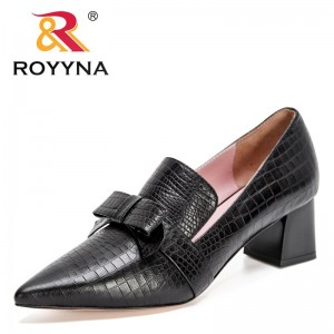 ROYYNA 2021 New Designers Bowknot Slip-On Women Shoes Soft Genuine Leather Shallow Pointed Office Shoes Ladies Solid Soft Pumps