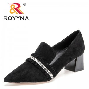 ROYYNA 2021 New Designers Classics Pumps Women Thick Heels Pointed Toe Genuine Leather Solid Color Office Dress Shoes Ladies
